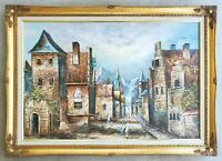 Antique Original Oil on Canvas Painting European Village Vintage Gold Gilt Frame