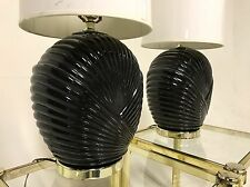 Vintage 80s Revival Brass Glass Table Desk Lamp SeaShell Black Gold Hollywood