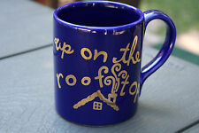 """Christmas Mug Cup Coffee Chocolate Eddie Bauer Home """"Up On the Roof Top"""" Blue"""