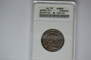 Ancient Roman Follis: Galerius  AD305-311- ANACS AU-50.  Awesome Coin!