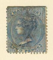 MAURITIUS - 1860/63 2d BLUE trimmed - FU - Scott# 25 - MAU 151