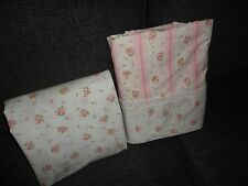 vintage springmaid pink lace floral stripe retro 2pc full fitted u0026 flat sheet