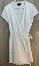 Boden Dress Short Sleeve Wrap Around Size 16L White With Textured Circles