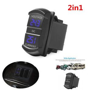2in1 Panel Flush Mount Blue Digital Ammeter Voltage Meter Car Amp Voltage Tester