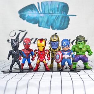 "4"" Marvel Comic Avengers Thanos Iron Man figure 6Pcs toy Cake Topper Model Gift"