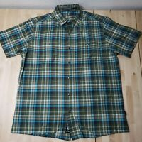 KuHL Eluxur Mountain Grown Multicolor Green Blue Plaid Short Sleeve Large Shirt