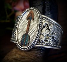 BOHO Copper Patina Verdigris Vintage Metal Arrow Silver Burnished Cuff Bracelet