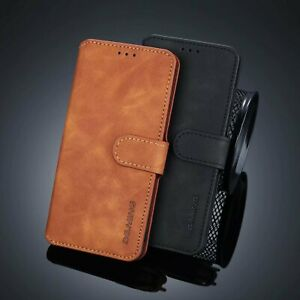 DG.Ming Retro Leather Wallet Magnetic Flip Stand Phone Case For Samsung Phones