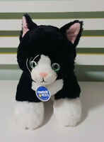 BUILD A BEAR BLACK CAT TEDDY STUFFED ANIMAL 28CM LONG! BLACK TOY CAT! GREEN EYES