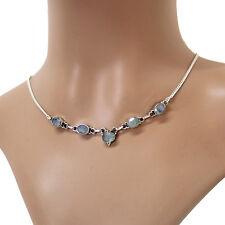 Mondstein Collier Silber 925  Kette Halskette Weiß blau schimmernd Cutstone TSM