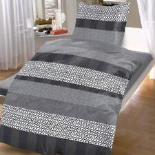 4 tlg Bettwäsche 135 x 200 cm grau anthrazit Baumwolle 2 Garnituren