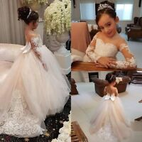 Lace White Ivory Flower Girl Dresses with Long Sleeve Kid Princess Pageant Dress