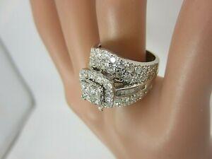 14k White Gold 3.66 ct Diamond Ring Cluster Princess Cuts Large