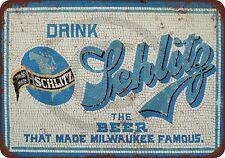 "Drink Schlitz Beer Mosaic Tiles Blue Rustic Retro Metal Sign 8"" x 12"""