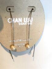 Chan Luu Floating Pearl Earrings Silver Tone