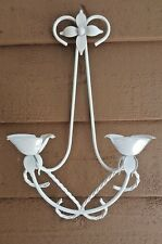 VINTAGE CANDLE SCONCE TOLE STYLE METAL TWISTED FLOWERS WHITE HANGING