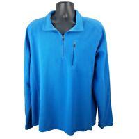 LL Bean - Men's XL - Fleece - 1/4 Zip Pullover Sweater Jacket - Solid Blue
