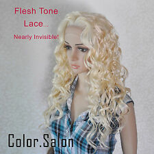 Hand-Tied Flesh Lace Front Synthetic Full Wigs Glueless Light Blonde 99#613(F)