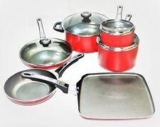 Vintage Farberware 10 Piece Nonstick Aluminum Cookware Set Red New