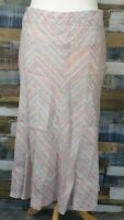 Marks and Spencer Per Una Pink Blue Striped Heavy Linen Midi Skirt Size UK 10 R