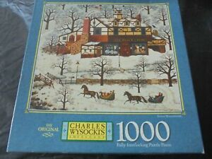 "Outstanding Charles Wysocki 1000 pc. puzzle-""SNOWY MOUNTAINSIDE"" sealed    9a"