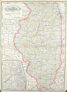1887 Railroad and County Map of Illinois Antique