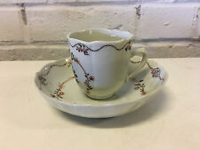 Antique Chinese Export Porcelain Cup & Saucer w/ Flower Decoration