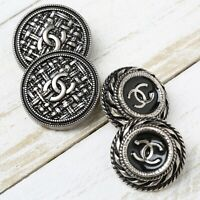 Chanel Buttons 4pc CC Silver 2 Styles 4 Buttons unstamped AUTH!!!