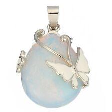 Teardrop Opal Gemstone Pendant Bead Jewelry Butterfly
