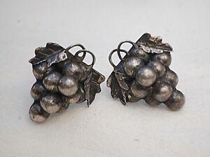 Vintage Sterling Silver .925 Grape Cluster Earrings Screw Back Finely Detailed