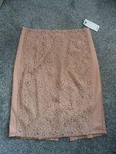 MANGO - Beautiful  Nude & Lace Slim Fit Skirt Size 14 bnwts