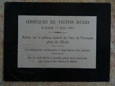 Rare laissez-passer officiel pour les obsèques de Victor Hugo 1885