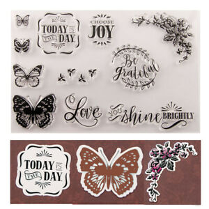 JOY Butterfly Silicone Clear Transparent Stamp and Cutting Dies DIY Scrapbooking