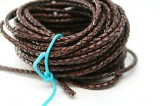New listing 10 yards 30 feet 4Mm Natural Antique Brown Braided Bolo Leather Lace Cord Roll