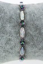 Beautiful Mystic Topaz & Fire Opal Sterling Silver Plated Bracelet