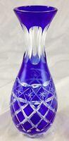 Cobalt Blue Cut Crystal Clear Glass Bulb Diamond Lattice Star Pattern Bud Vase