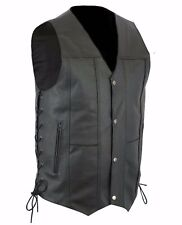 10 Pocket Men Motorcycle Biker Concealed Carry Black Leather Vest