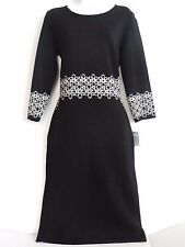 Gabby Skye Women's Black White Round Neck L/S Sweater Dress Sz L NWT SALE
