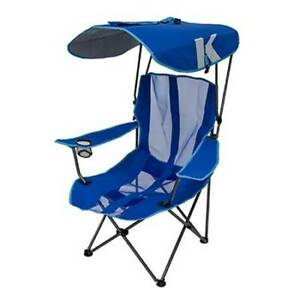 Kelsyus Premium Camping Folding Lawn Chair with Canopy, Blue | 80185 (Open Box)