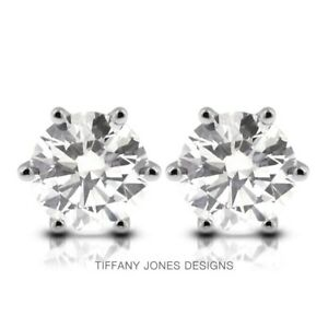 1.78 TCW D-SI1 Exc Round Natural Diamonds 14k Gold 6-Prong Classic Earrings 1.4g