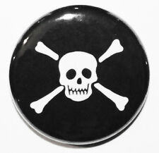 "1"" (25mm) Skull & Crossbones /Jolly Rodger Pirate Button Badge Pin - MADE IN UK"