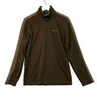 Eddie bauer 1/4 zip pullover knit sweater jacket brown size small mens