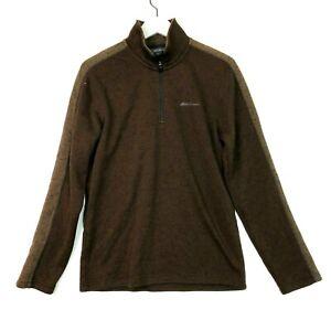Eddie bauer 1/4 zip pullover knit sweater jacket brown size small mens