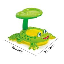 Inflatable Sunshade Baby Kids Frog Ring Raft Swimming Pool Beach Float Seat Boat