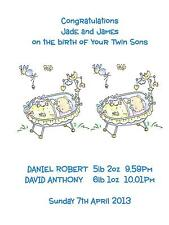 Personalised A5 Birth of Baby Boy Twins Congratulations Card Sons Grandsons NEW