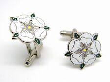 YORKSHIRE WHITE ROSE ENAMEL BADGE CREST CUFFLINKS GIFT IN GIFT POUCH OR BOX