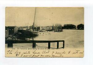 Far Rockaway L.I. Queens NY antique postcard, crew on ship during storm, shacks