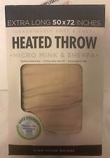 HEATED THROW EXTRA LONG 50X72 INCHES. ELECTRIC MICRO MINK & SHERPA TAN  NEW!