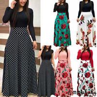 USA Women's Summer Boho Floral Short Sleeve Long Maxi Dress Party Beach Sundress