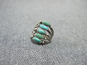 Vintage Native American needlepoint turquoise sterling silver ring